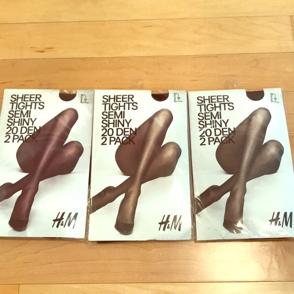 189f447fe1d56 H&M Accessories | Hm Black 20 Den Semi Shiny 2 Pack Sheer Tights S ...